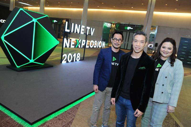 1 อริยะ พนมยงค์ (คนกลาง) กรรมการผู้จัดการ บริษัท LINE ประเทศไทย นำทีมผู้บริหาร จัดงาน LINE TV NEXPLOSION 2018